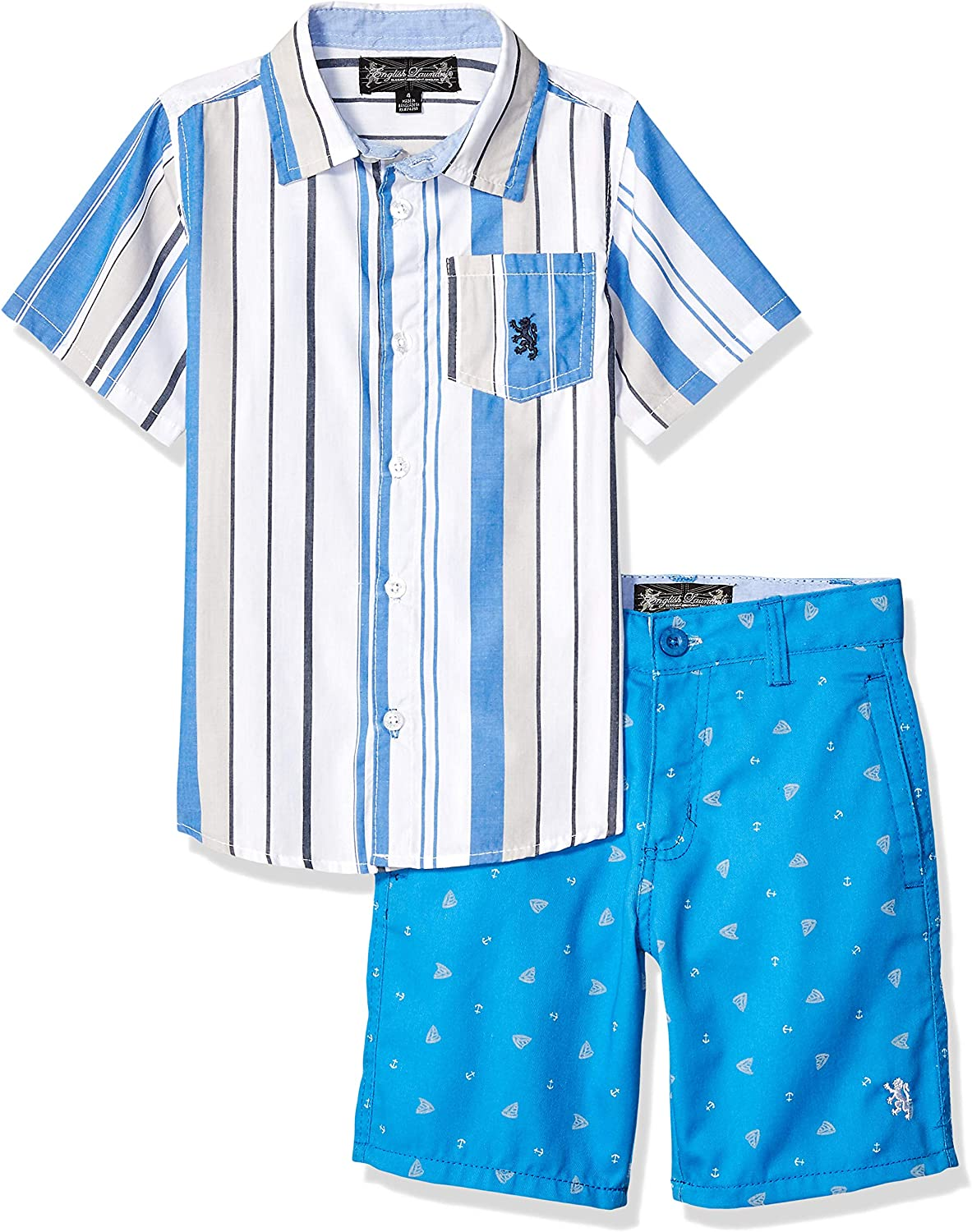 English Laundry Boys Sleeve Striped Woven Shirt and Short Set