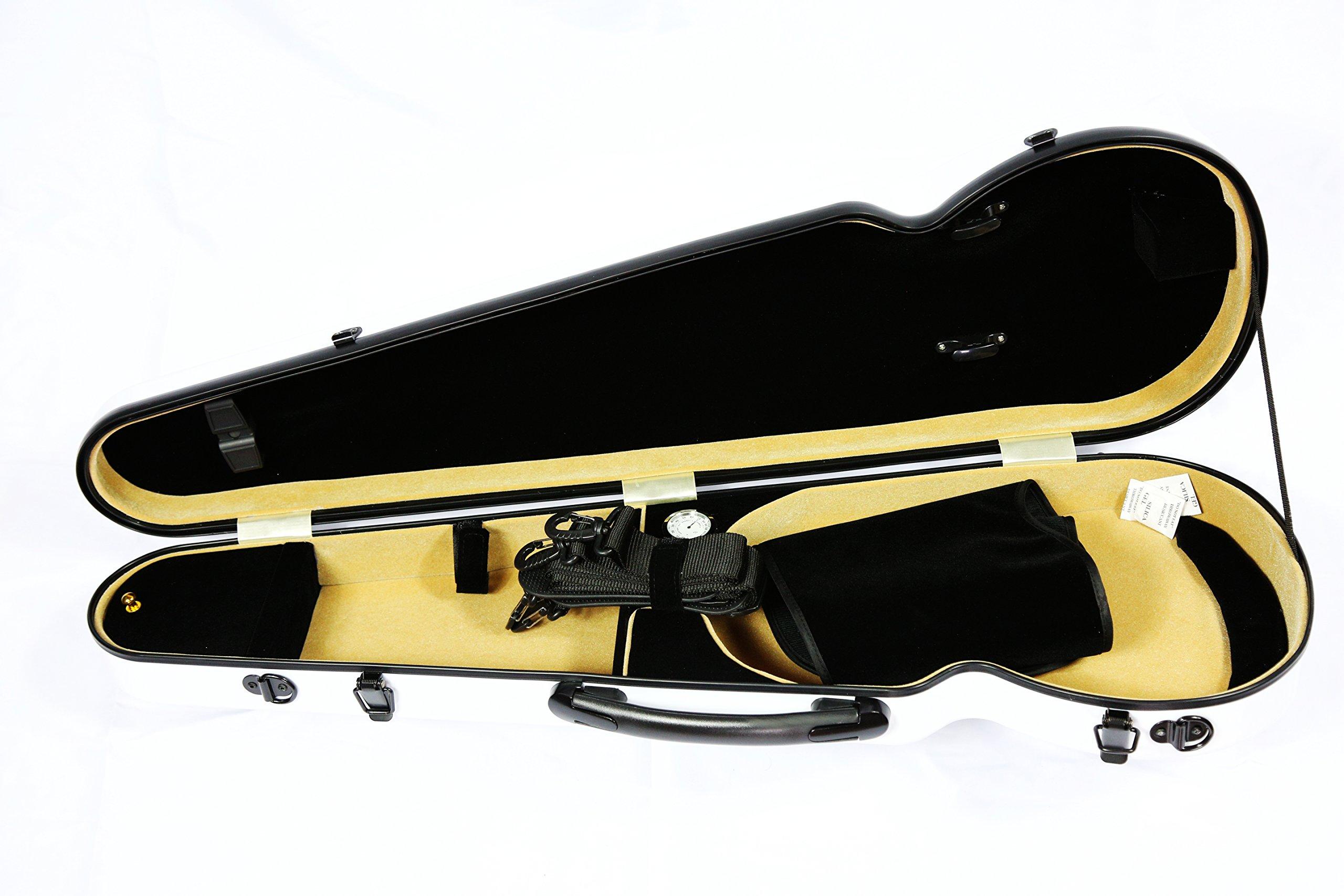 Vio Music Full Size Hightech Carbon-Like Combo Violin Case 4/4-White, New Design