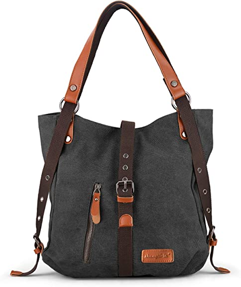 SHANGRI-LA Purse Handbag for Women Canvas Tote Bag Casual Shoulder Bag School Bag Rucksack Convertible Backpack - Black