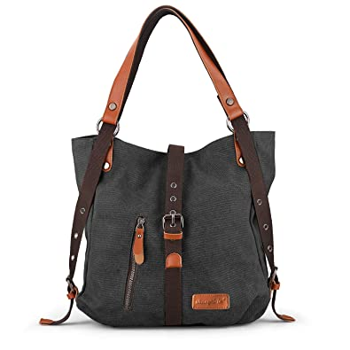 49a5fea8686 SHANGRI-LA Purse Handbag for Women Canvas Tote Bag Casual Shoulder Bag  School Bag Rucksack Convertible Backpack