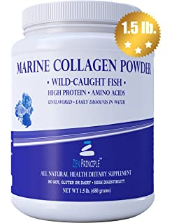 Large 1.5 lb. Marine Collagen Peptides Powder. Wild-Caught Fish, Non-
