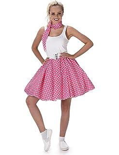 Pink Polka Dot Skirt Ladies Fancy Dress 50s Rock N Roll Womens Adults Costume Medium