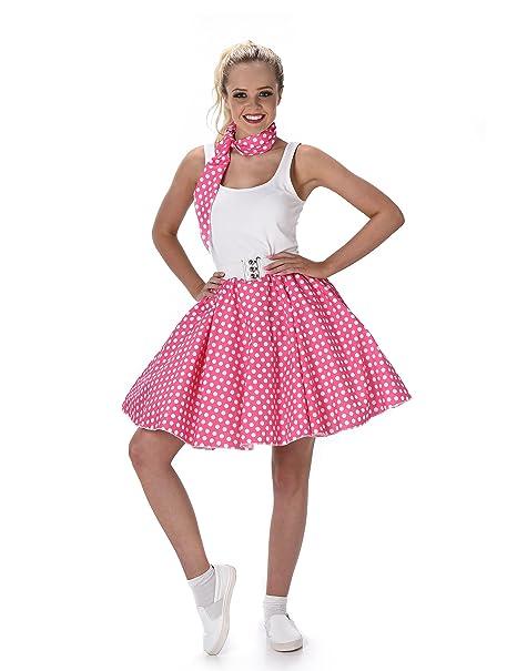 e31758ba30421 Disfraz años 50 rosa mujer Taille L  Amazon.es  Juguetes y juegos