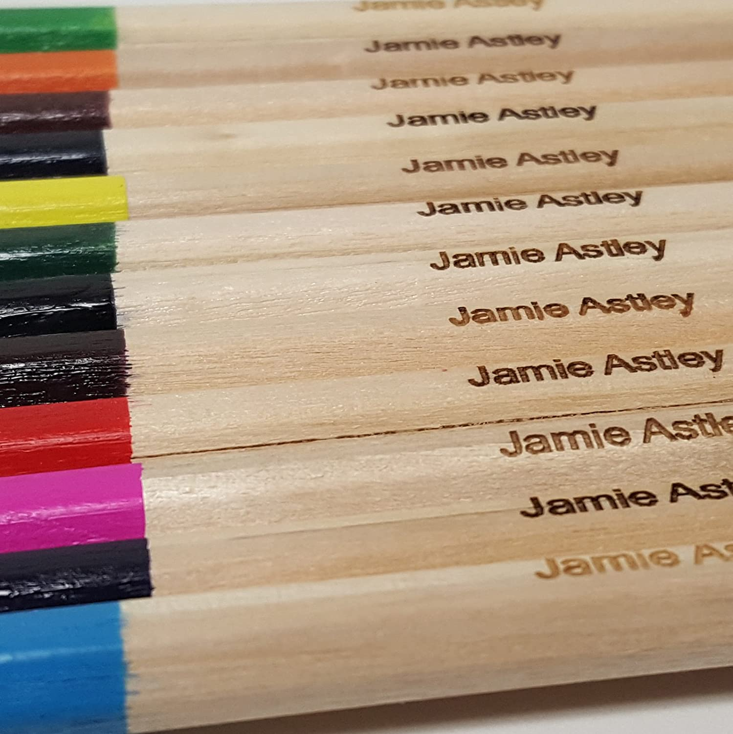 Personalized Wooden Coloring Pencils - Pack of 12 in Named Box - Colored Pencils for School or Gift Label Weavers