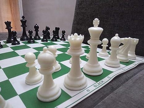 StonKraft 43x43 cm juego de ajedrez plegable de vinilo de torneo de con piezas de plástico