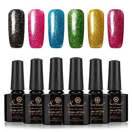 Esmalte de uñas Saviland 6 colores con purpurina, para manicura y pedicura, 10 ml. Pasa ...