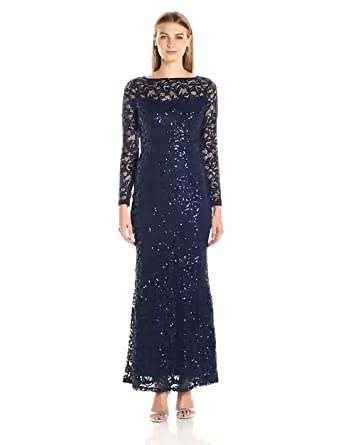 818f3b9c516a3 Marina Women's Long Sleeve Stretch Sequin Lace Gown at Amazon ...