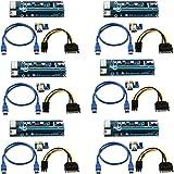 LONGXI (6 PACK) Confezione da 6 pin Powered PCI-E PCI Express riser – Ver 006 C – 1 x A 16 x scheda PCIe USB 3.0 compatibile con cavo di prolunga USB – Scheda grafica GPU Crypto moneta Mineraria