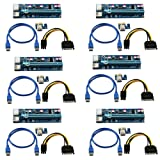 (6 Pack) 6-Pin Powered PCI-E PCI Express Riser - VER 006C - 1X to 16X PCIE USB 3.0 Adapter Card - With USB Extension Cable - GPU Graphic Card Crypto Currency Mining