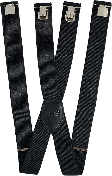 FLIEGENFAENGER® Tirantes para hombre, negro, 3, 5 cm de ancho, con 4 clips, apto para camisa, pajarita, corbata y traje: Amazon.es: Ropa y accesorios