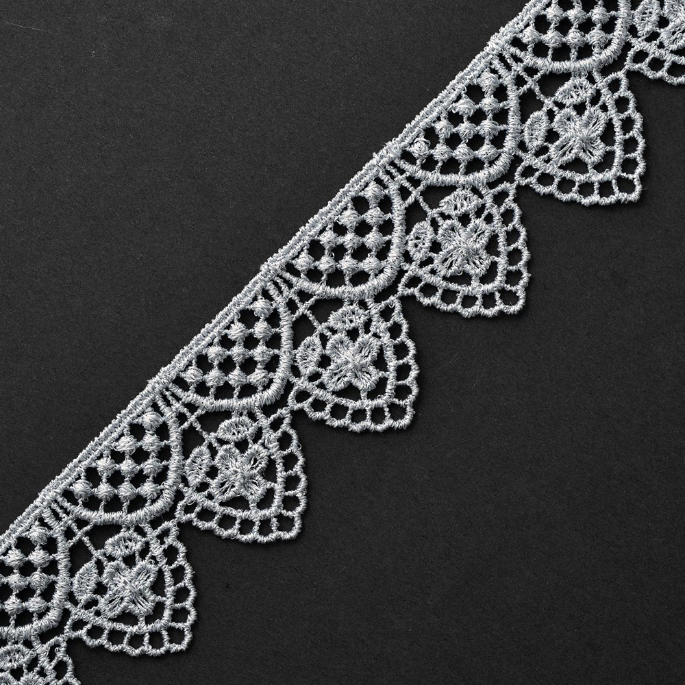 SMB-12544 1-1//2 Inch Metallic Silver Lace Trim for Bridal Crafts and Sewing by 1 Yard Costume or Jewelry