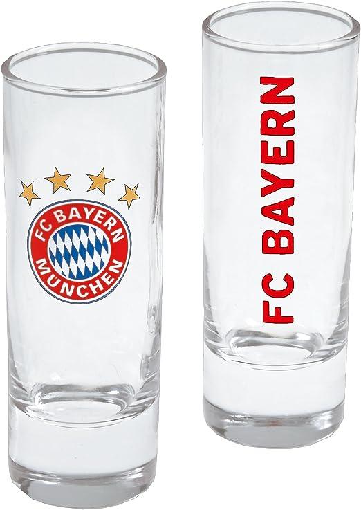 Shot Glass Sticker kompatibel FCB Glas Vaso FC Bayern M/ünchen Schnapsglas 2er Set verre Shot,
