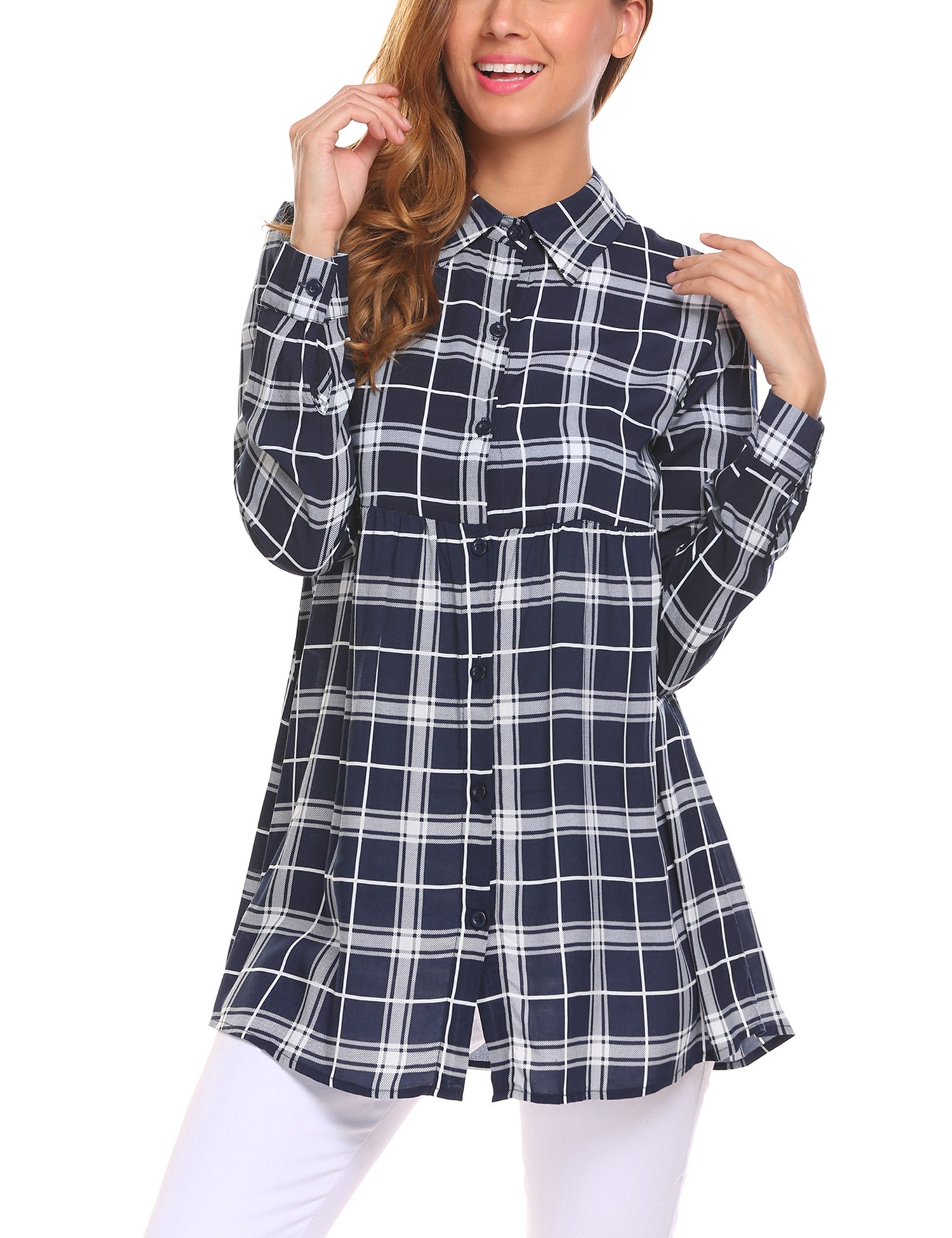 SummerRio Basic Women Long Sleeve Loose Plaid Full Button Up Shirt Blouse Blue M