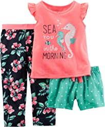 Carters Girls 3 Piece Pj Set 353g030