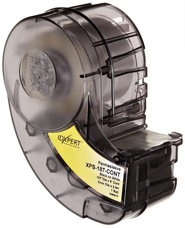 B-342 PermaSleeve Heat-Shrink Polyolefin 1.015 Width Black On White Color Wire Marker Sleeves Brady XPS-250-1 IDXPERT PermaSleeve 0.439 Height 100 Per cartridge