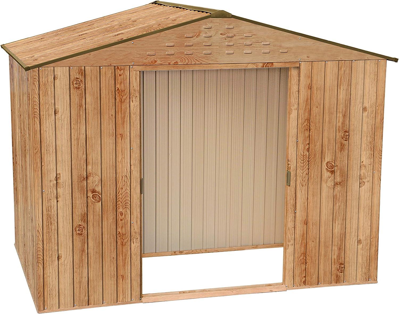 Casa de metal para Tepro 7434 Titan 8 x 6, decorativo de madera de roble con techo de gablete