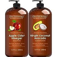 Apple Cider Vinegar Shampoo and Coconut Avocado Oil Conditioner Set - Helps Restore...