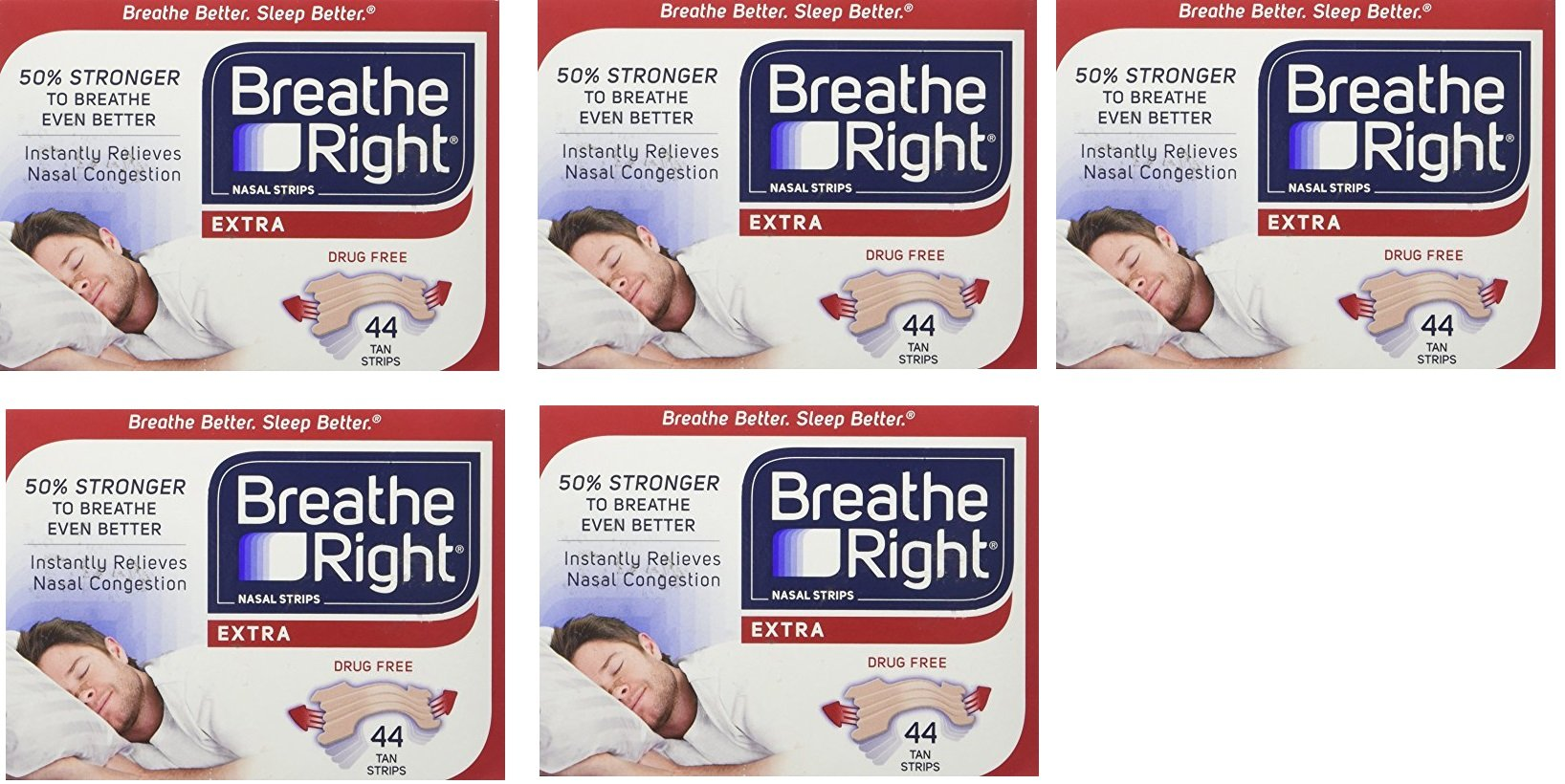 Breathe Right Extra Strong Nasal Strips One Size Fits All, Tan RvoNxl, 5 Pack(44 Strips) by Breathe Right