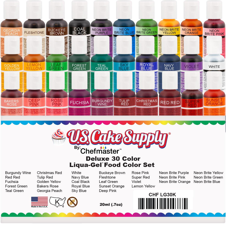 Amazon.com : 30 Color Cake Food Coloring Liqua-Gel Decorating Baking ...