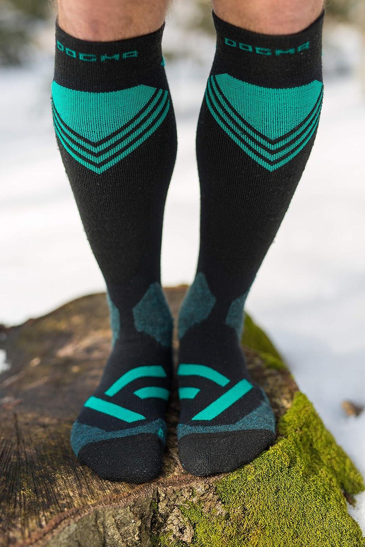DOGMA Snow Leopard Skisocken mit leichter kompression f/ür Herren und Damen Snowboard Socken aus Merino Wolle Performance Merinosocken f/ür den Wintersport shield teal, 42-44