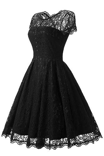 KISCHERS Women's Retro Floral Black Lace Cap Sleeves Vintage Swing Bridesmaid Wedding Party Dress