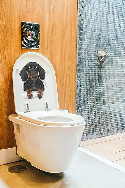 Wall//Refrigerator//Toilet Decals//Stickers-Dog Breaking Through//Basset 5.5 x 8 In.