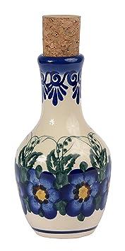 Tradicional aceite de oliva de cerámica polaco Pottery, hecho a mano o vinagre botella 130 ml, Boleslawiec estilo patrón, v.301 Garland Collection: ...