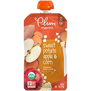 Plum Organics Stage 2, Organic Baby Food, Sweet Potato, Apple and Corn, 4 Ounce Pouches (Pack of 12)