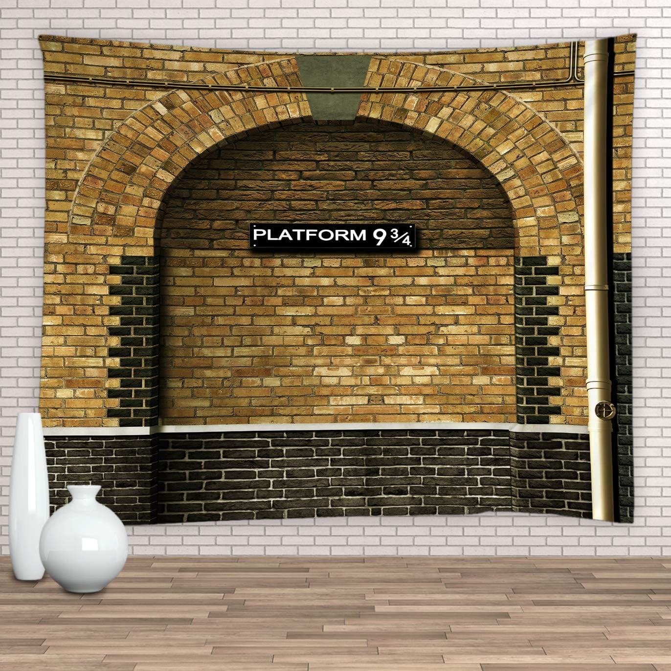 Feierman Platform 9 3/4 Tapestry London's King's Cross Station Vintage Wall Hanging Tapestry Brown Decor 100% Polyester Kids Bedroom Decor