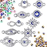 100 Pieces Evil Eye Charms Kits, 50 Mixed Colorful Glass Evil Eye Spacer Beads, 30 Gold Alloy Enamel Blue Eye Beads 20 Rhines
