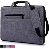 BRINCH 17.3 Inches Suit Fabric Multi-functional NeoprenePouch Sleeve Carrying Clipcase Handbag Briefcase Shoulder Laptop Bag Case for Macbook 17-17.3 inch/Notebook (17.3 Inches, Grey)