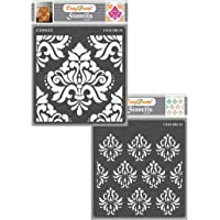 CrafTreat Damask Stencils for Painting on Wall, Tile, Wood, Canvas, Paper, Fabric, and Floor - Bold Damask and Damask…