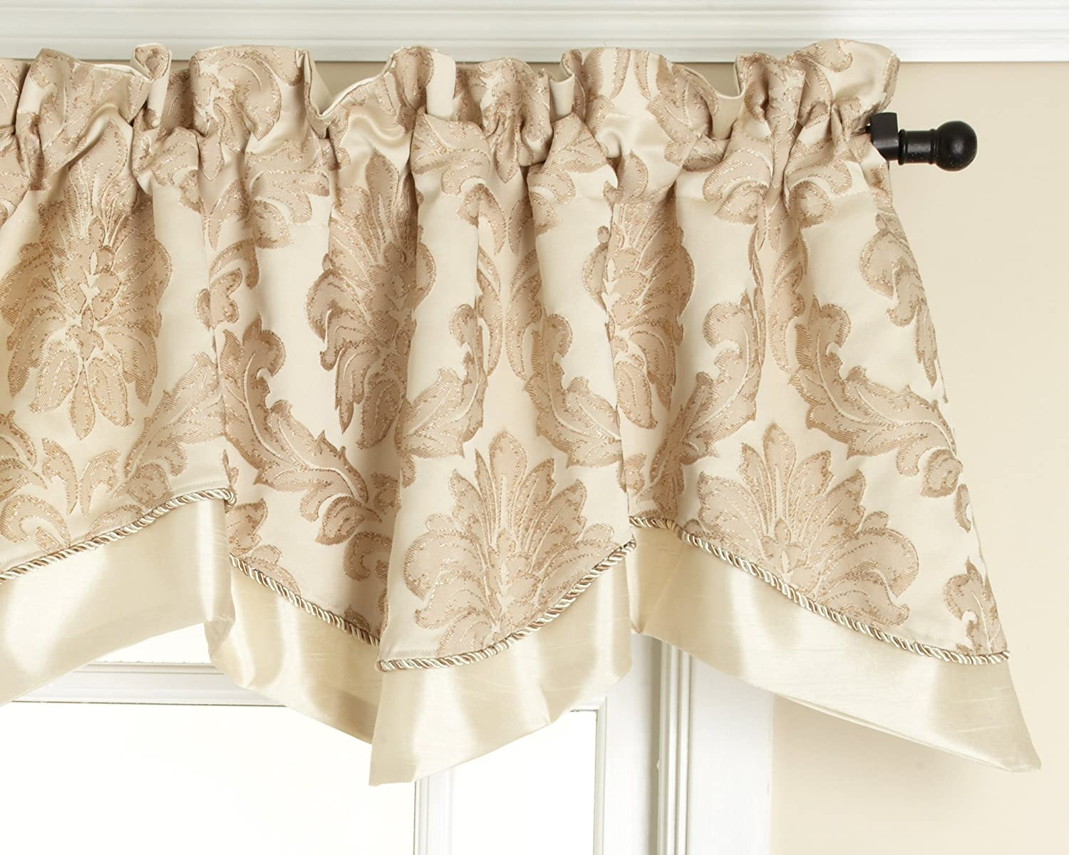 Style Master Renaissance Home Fashion Darby Layered Scalloped Valance with Cording, Ivory, 50 by 17-Inch