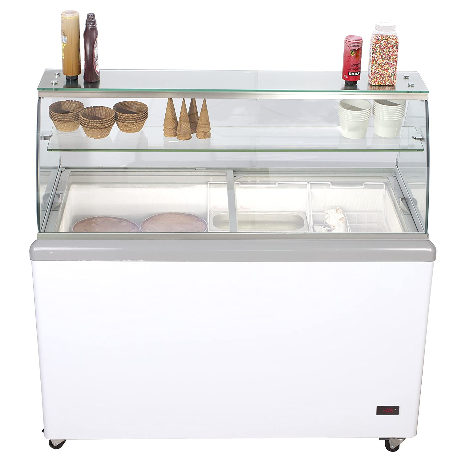 Chef's Exclusive Commercial 8 Flavor Frost Free Ice Cream Dipping Cabinet Case Sub Zero Freezer 14 Cubic Feet Including Skirts Displays 8 Tubs and Stores 6 Additional, 52 inch Wide, White