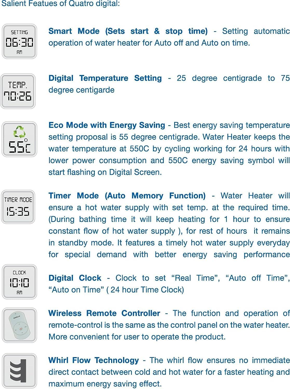 Hot Water Heater Setting Buy Havells Quatro Digital 25 Litre Storage Water Heater White