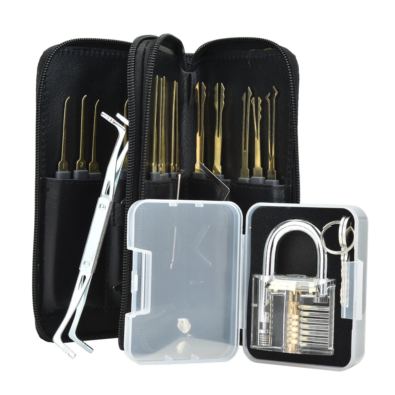 Pretop Profi lockpicking set 24-3-delige pick-set dietriche Kit, schlossknacken sleutel extractor gereedschap set + transparante oefenmat-hangsloten voor bankwerkerij