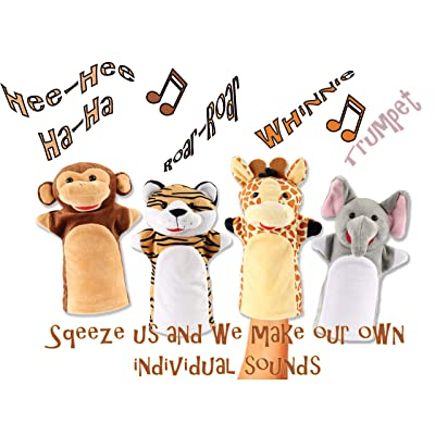 Animal House Talking Animal Hand Puppets by Includes (4) Hand Puppets, Each with A Unique Animal Sound When You Squeeze   Baby Gift   Toddler Gift (Jungle Buddies): Toys & Games