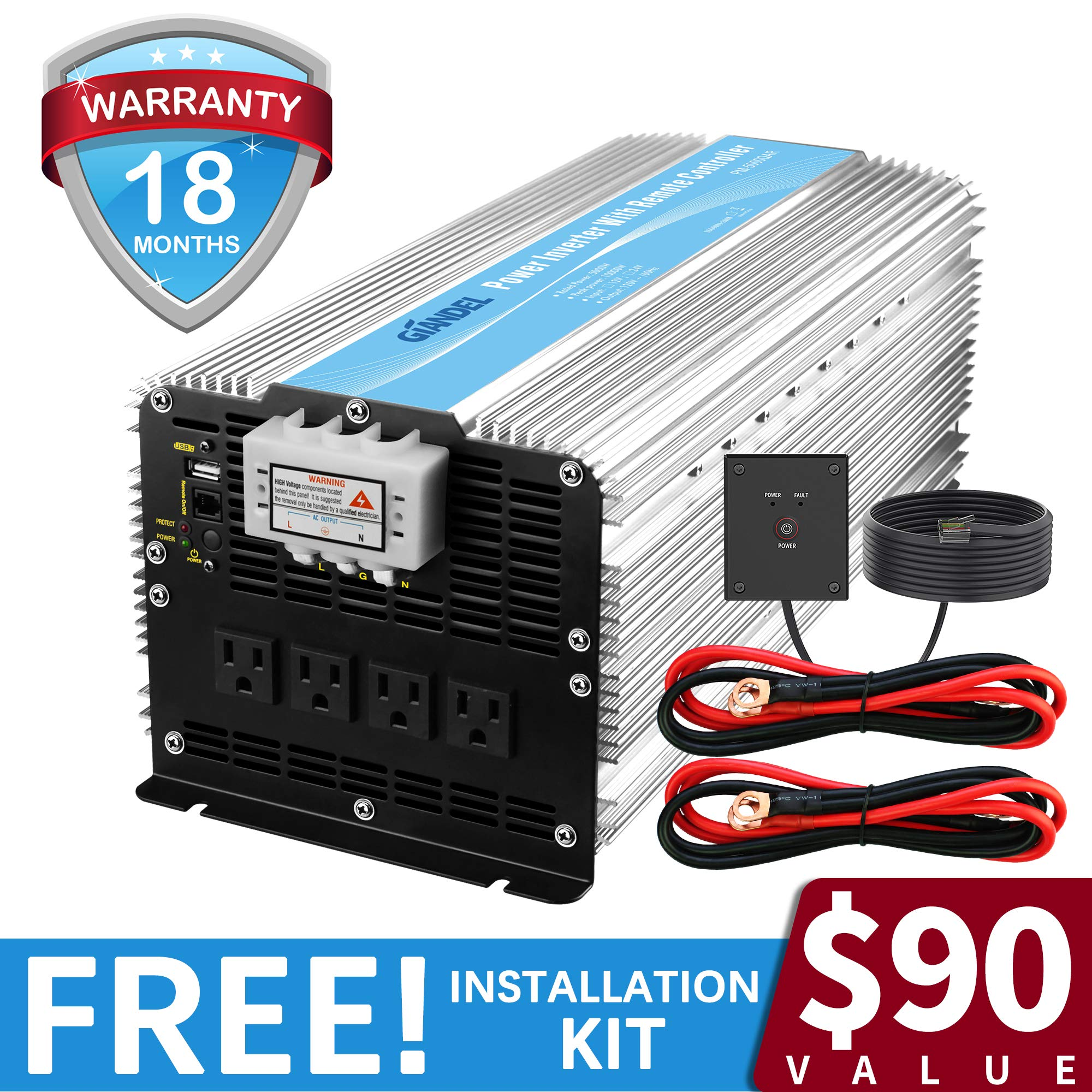 Giandel 5000W Heavy Duty Power Inverter 12V DC to 110V 120V AC with Remote Control and 4 AC Outlets & USB Port for RV Truck Boat by Giandel