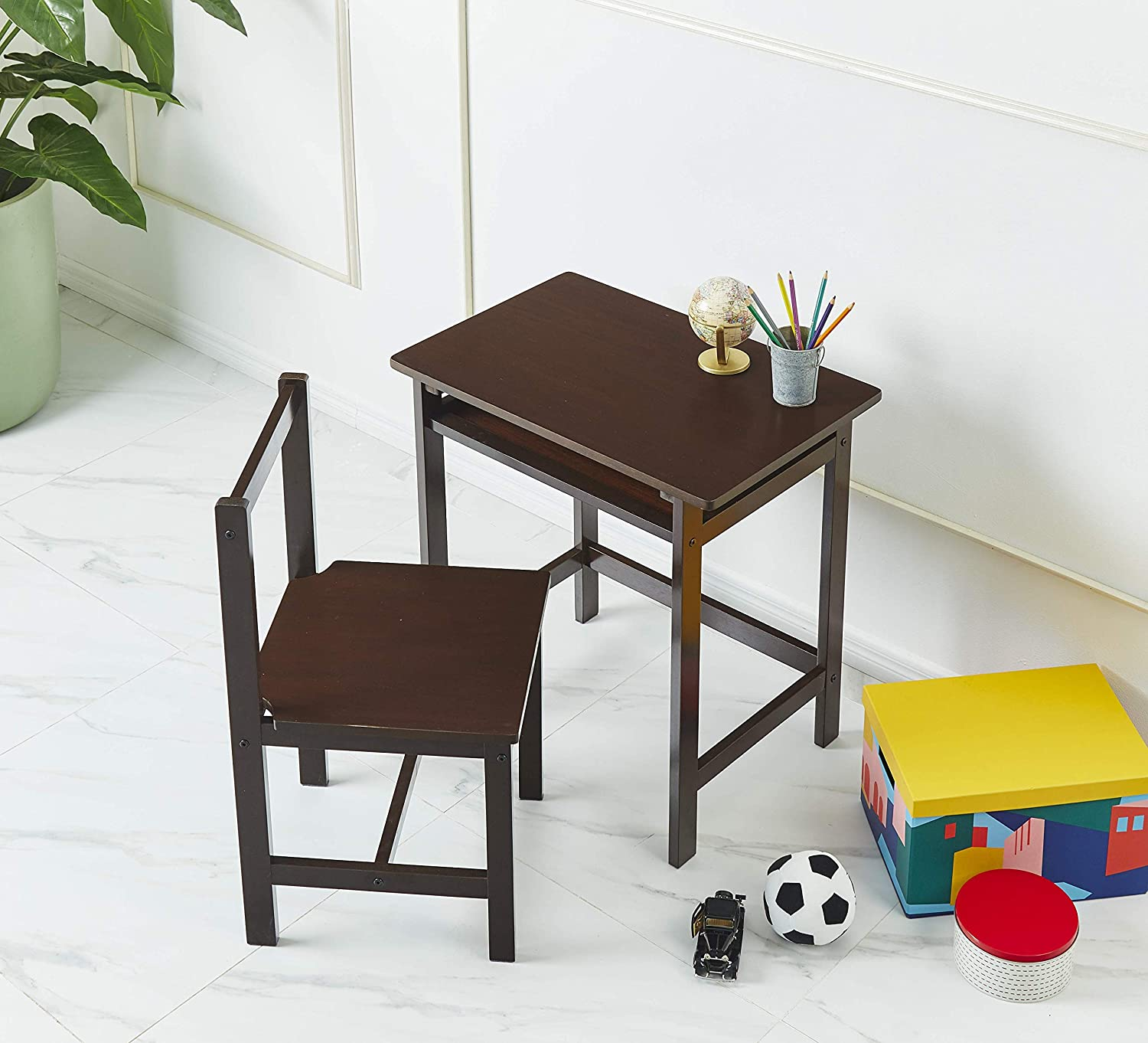 AmazonBasics Solid Wood Kid Desk and Chair, Espresso