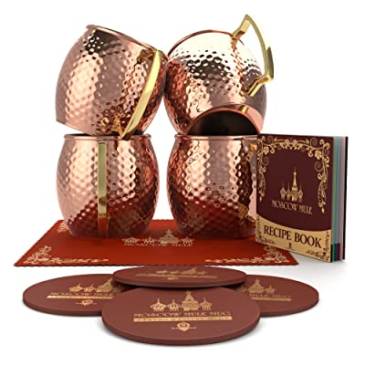 Krown Kitchen - Hammered Moscow Mule Copper Mug Set