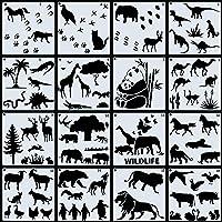 16 Pieces Animal Theme Stencils Animal Shape Reusable Stencils Panda Giraffe Horse Templates with Metal Ring for DIY…