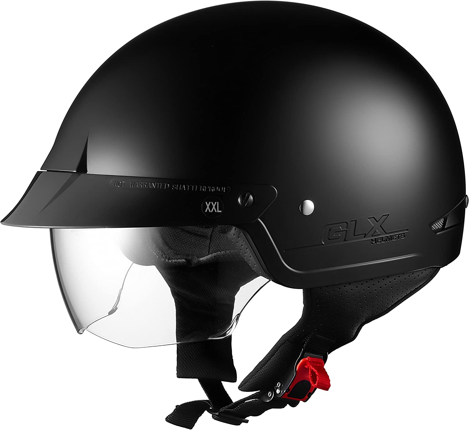 Glx Cruiser Scooter Motorcycle Half Helmet Dot Approved 2 Retractable Visors Matte Black Small