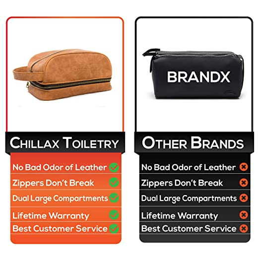 bd1c89f88b04 Amazon.com   Mens Leather Toiletry Bag for Travel - Great Designer Dopp Kit  by Chillax made for Traveling