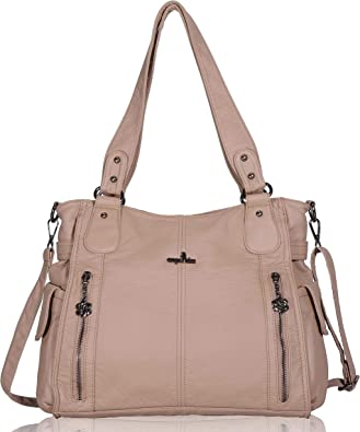 Women/'s Large Multi-Compartment Faux Leather Handbag Shoulder Tote Shopper Bag