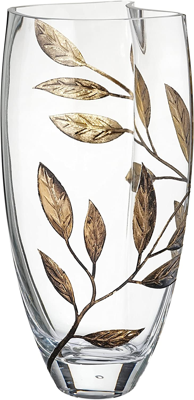 Vaso in Vetro soffiato a Mano 29 cm Gold in Confezione Regalo Dorata Annas Exclusive Decor Vaso Trasparente dalla Forma Unica Decorato con Foglie sabbiate e dipinte
