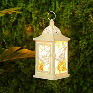 "JHY DESIGN Butterfly Decorative Candle Lanterns 9.5"" High Rustic Metal Lantern Candle Holder for Home Decor Indoor Outdoor Events Parties and Weddings (White with Gold Brush)"