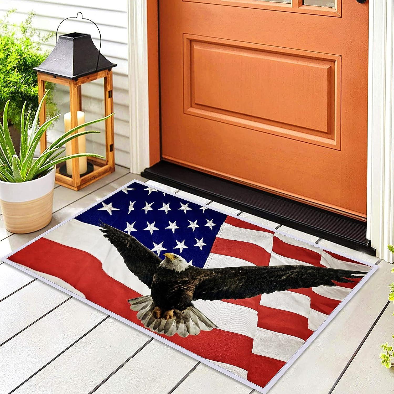 Vanproo American Flag Door Mats, 15.7 x 23.6 Inch USA Bald Eagle Fourth of July Independence Day Indoor Door Mat Bathroom Doormat Welcome Mat for Kitchen Home Decor (F)