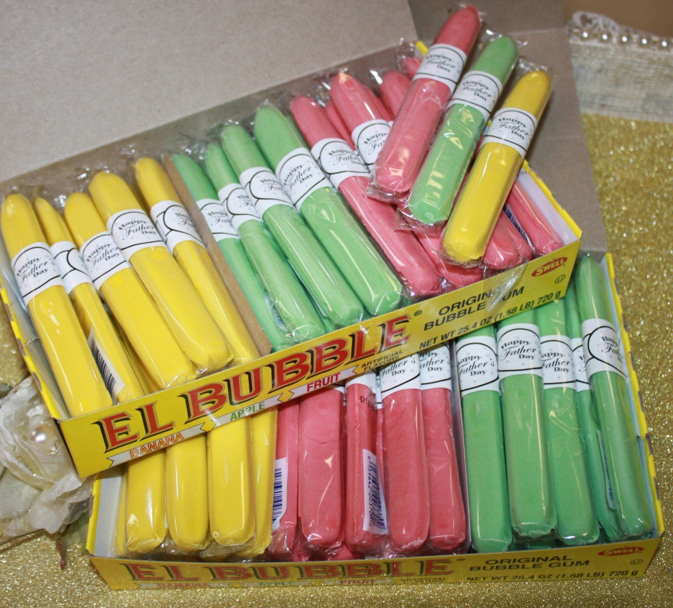 Father's Day Gum Cigars in a Cigar Box of 36 Candy Cigars with''Happy Father's Day'' Message by FavorOnline