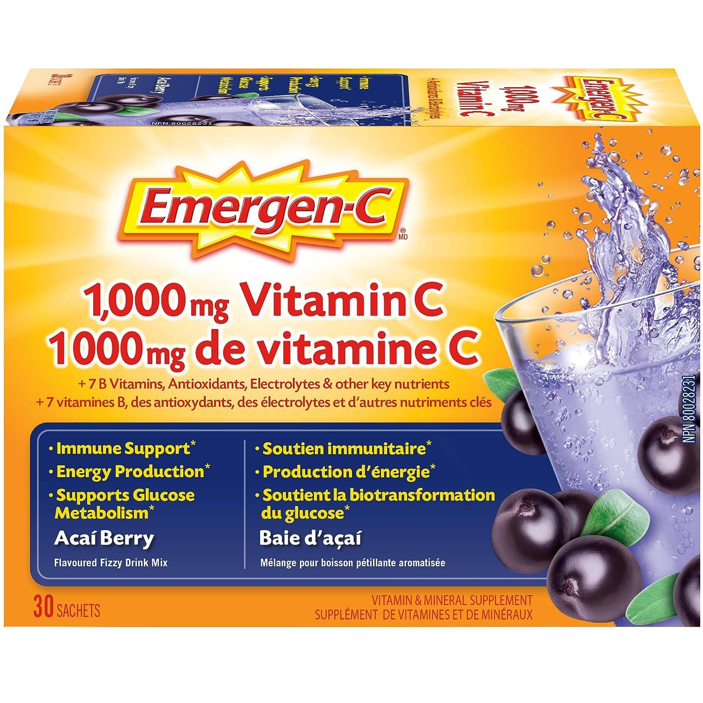 d44fb93ca1d5b Emergen-C® Acai-Berry (30 Count), 1000mg Vitamin C / Electrolytes / B  Vitamins Mineral Supplement: Amazon.ca: Health & Personal Care