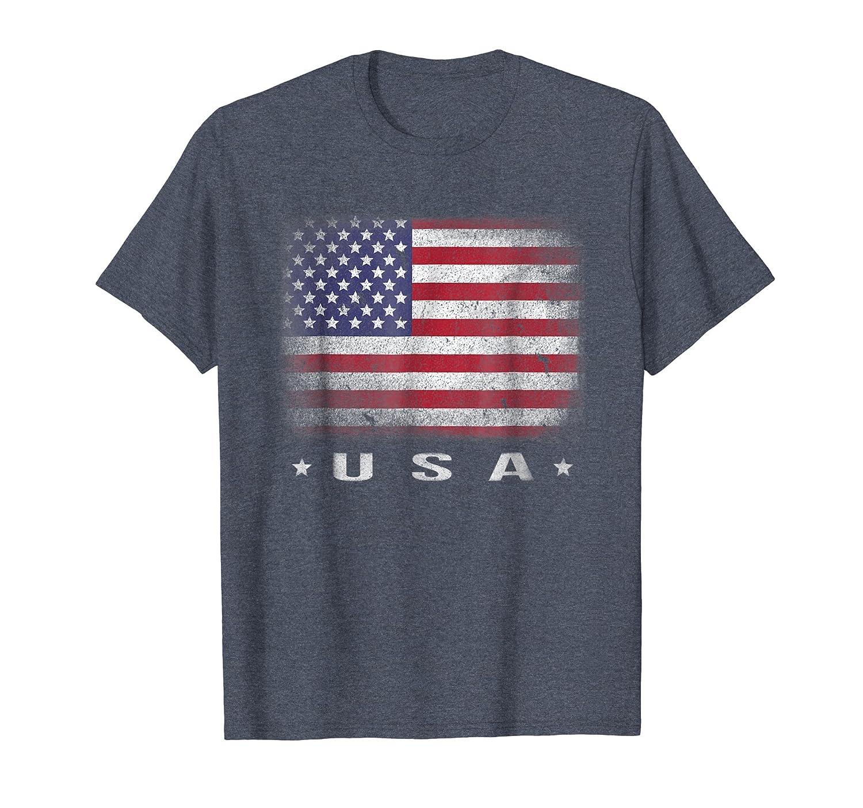 USA Flag T-shirt 4th July Fourth Red White Blue Star Stripes-ln